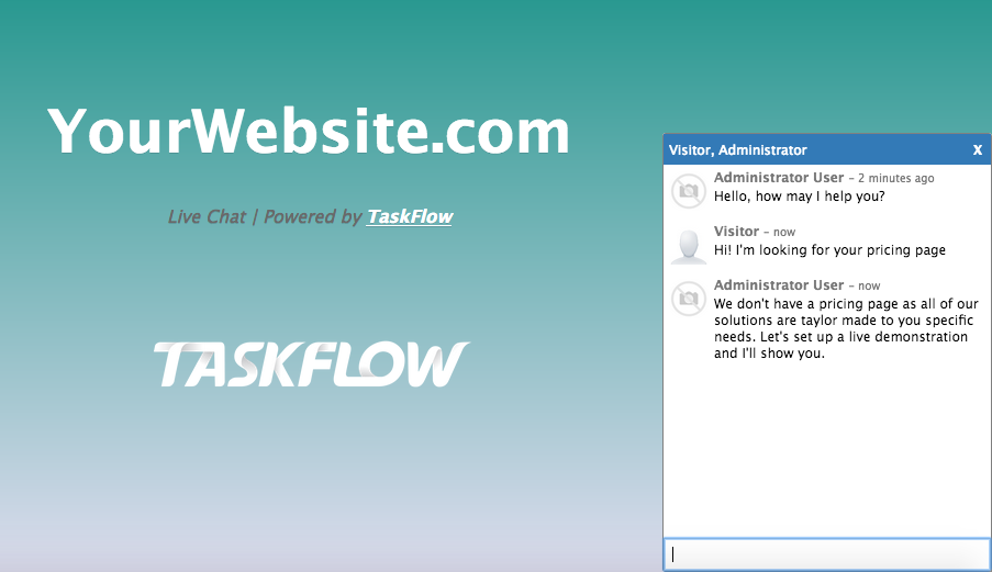 Try out website live chat on our demo server